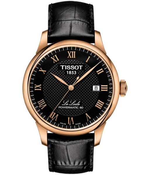 大高雄鐘錶城 TISSOT天梭 T0064073605300 LE LOCLE 力洛克80動力儲存機械錶/ 黑x玫瑰金 40mm
