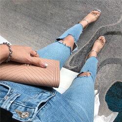 膝蓋破洞 牛仔褲 彈性 牛仔 長褲 鉛筆褲 小腳褲 窄管褲 貼腿褲 合身 貼身 緊身 性感 刷破 顯瘦 ANNA S.