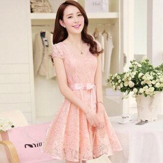 梅西蒂絲 -韓國連線淑女公主修身短袖洋裝-M-2XL