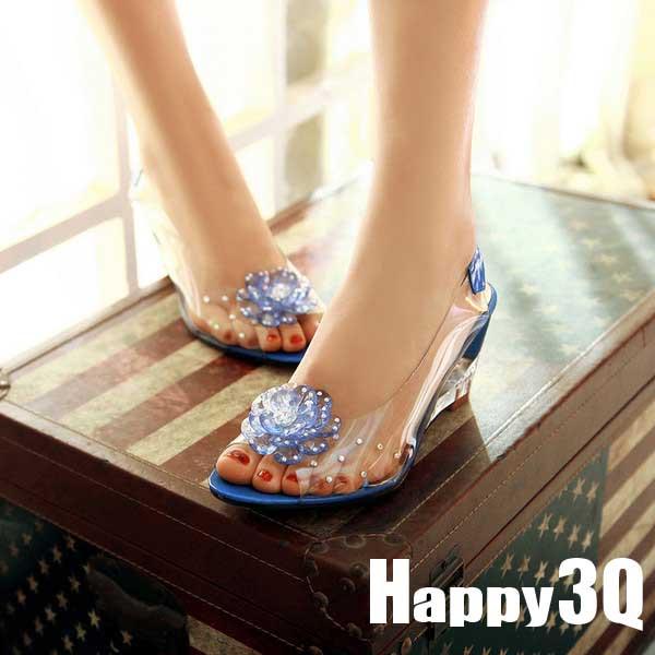 夏日度假透明果凍花朵低跟沙灘魚口涼鞋-紅/藍/黃/黑/米32-43【AAA0387】