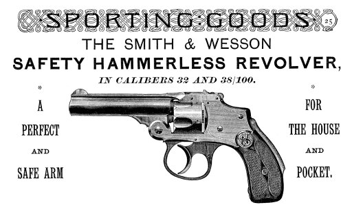 Ad Revolver 1889 Namerican Magazine Advertisement For The Smith & Wesson Hammerless Revolver 1889 Rolled Canvas Art - (24 x 36) thumbnail