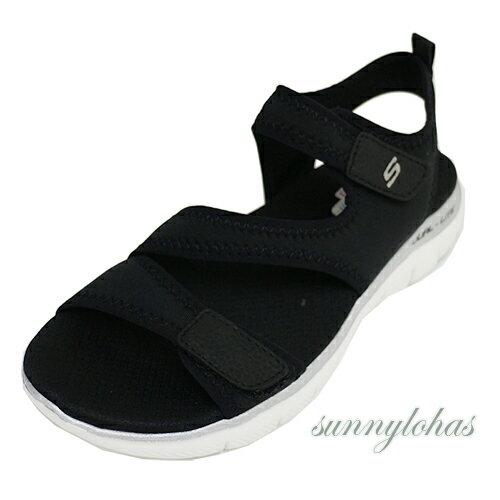 SKECHERS女款涼鞋FLEXAPPEAL2.0記憶型鞋墊魔鬼氈-39075BLK黑[陽光樂活]