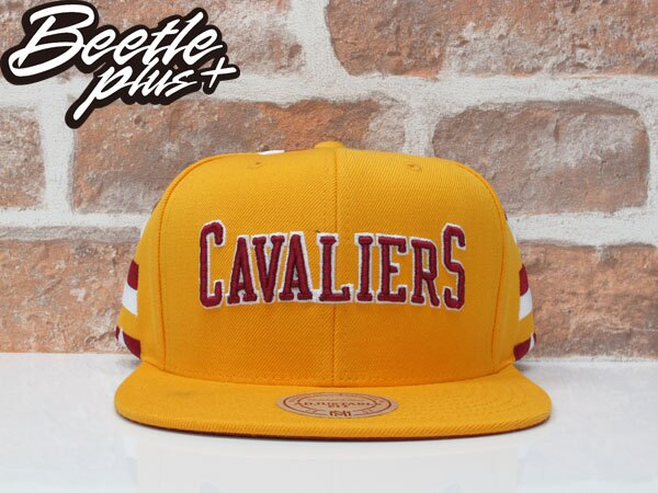 BEETLE MITCHELL&NESS NBA 克里夫蘭 騎士 黃紅 條紋 後扣 棒球帽 SNAPBACK MN-370 0