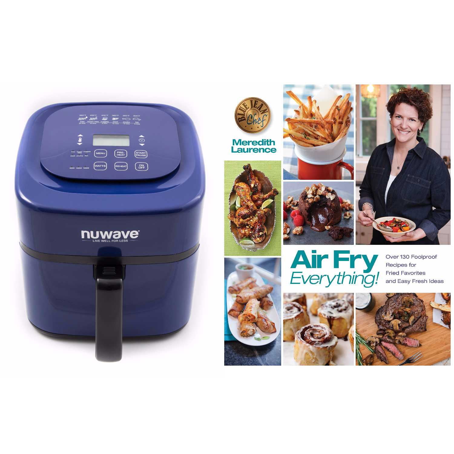 "NuWave Brio Digital Air Fryer (6 qt, Blue) with ""Air Fry Everything"" Cookbook 0"