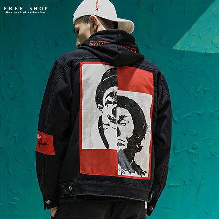Free Shop:FreeShop男女情侶款暗黑潮流小丑紅色拼接丹寧牛仔外套寬鬆版型落肩單寧外套夾克【QAAJR7147】