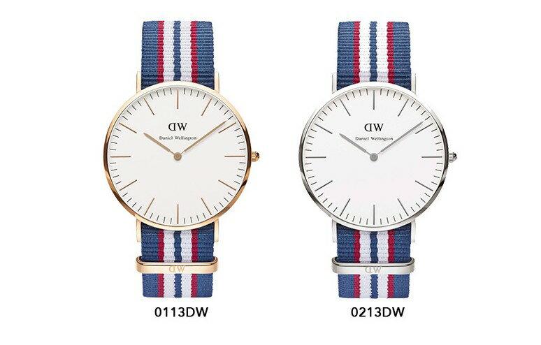 瑞典正品代購 Daniel Wellington 0213DW 銀 尼龍 帆布錶帶 手錶腕錶 40MM 1