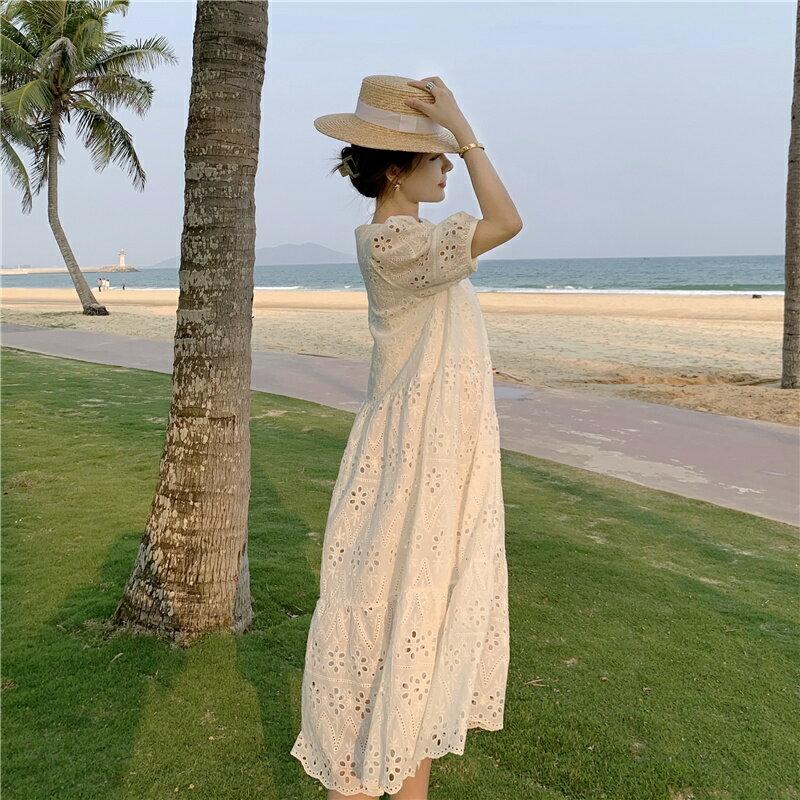 日系 韓系 復古民族風 簡約 質感 燒花蕾絲 縷空短袖連衣裙 連身裙 白色洋裝 氣質 百搭款 大尺碼 長裙 基本款