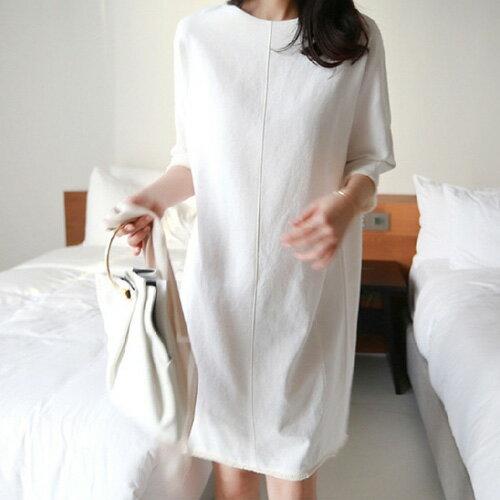 棉麻五分袖短袖洋裝韓風線條美感中袖流蘇邊連身裙艾爾莎【TGK6684】