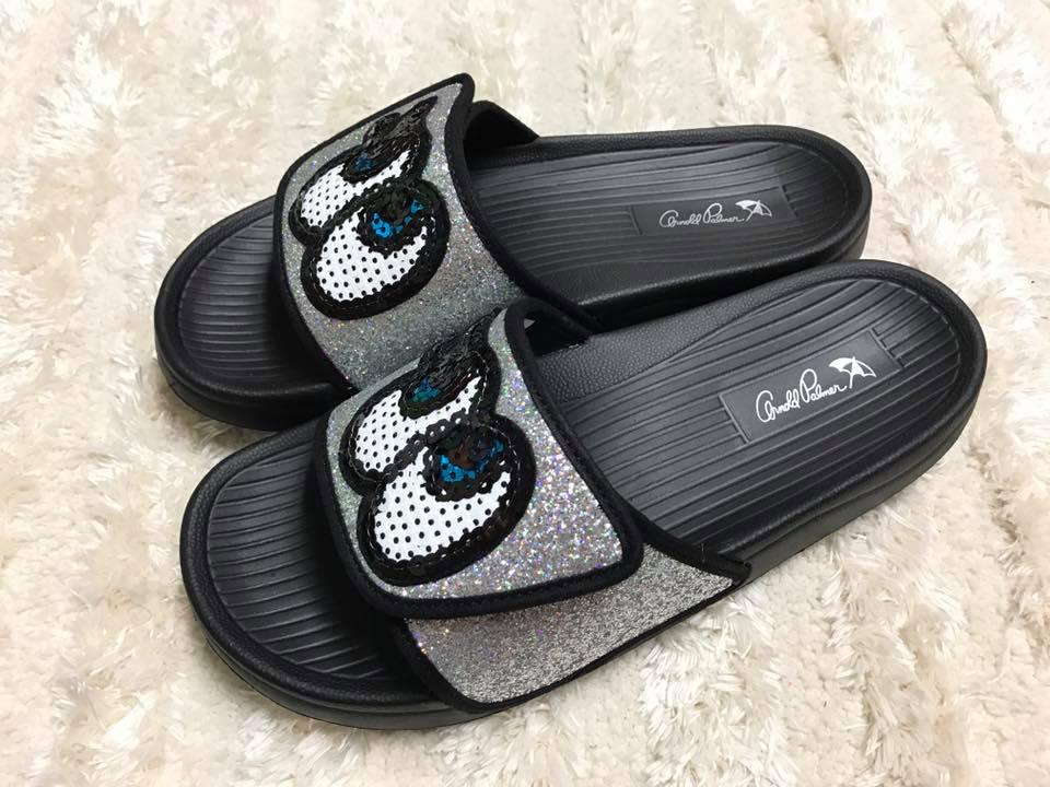 【Jolove】Arnold Palmer雨傘牌女鞋/大眼睛休閒輕便拖鞋884711 銀色