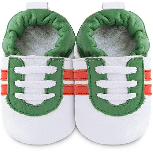 【hella 媽咪寶貝】英國 shooshoos 安全無毒真皮手工鞋/學步鞋/嬰兒鞋 白底/綠紅運動型 102061 (公司貨)