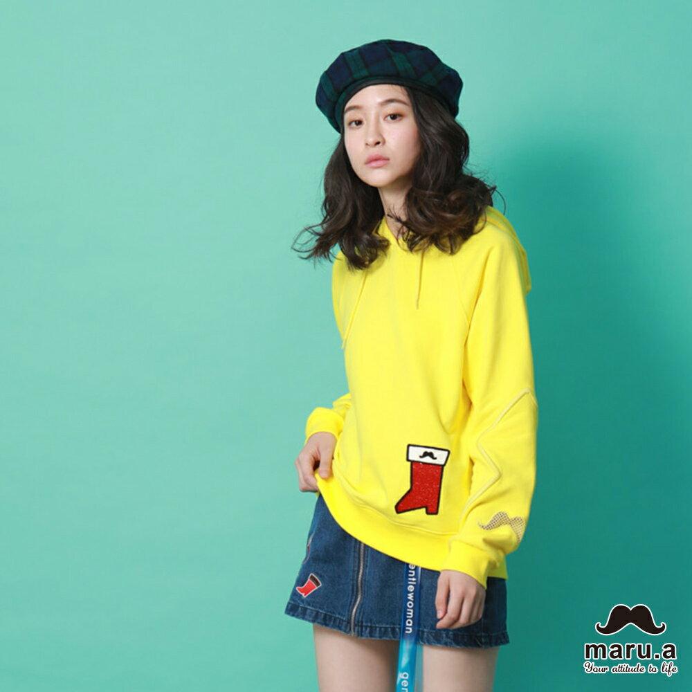【maru.a】親子款連帽靴子繡花袖子網紗簍空休閒T-shirt(2色)8921216 / 8951211 3