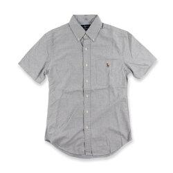 美國百分百【Ralph Lauren】短袖 口袋 襯衫 RL 上衣 POLO 彩馬 牛津布 男款 灰色 XS號合身版 I700