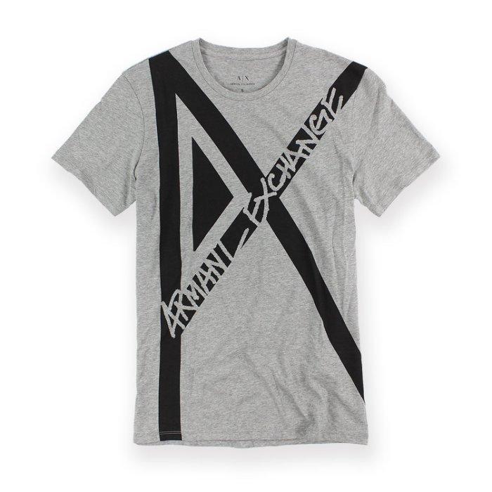 美國百分百【Armani Exchange】T恤 AX 短袖 logo 上衣 T-shirt 設計 灰色 S號 H911