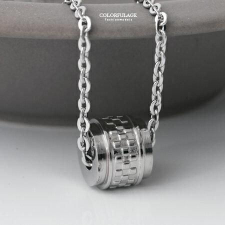 項鍊 精緻品味格紋滾輪造型白鋼項鍊 抗過敏.氧化 簡單卻又不失特色 柒彩年代【NB714】質感細緻 - 限時優惠好康折扣
