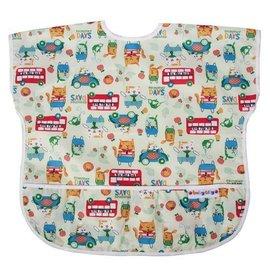 BabyCity娃娃城-防水短袖圍兜(1-3A)綠色貓公車199元