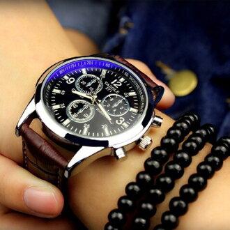 【NaYi】時尚高檔商務閃耀藍光夜光錶皮竹節皮革手錶 藍光錶 夜光錶 商務錶 圓盤手錶 男友款 男朋友 情人節禮物 三眼錶 271
