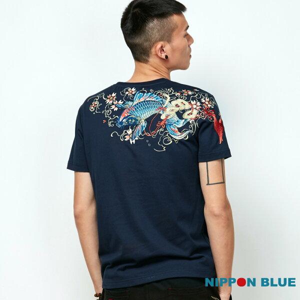【春夏新品】金標櫻花祥鯉精繡短TEE(藏青)-BLUEWAYNIPPONBLUE日本藍
