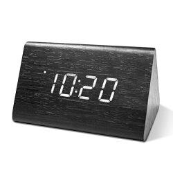 TD-521 三角形LED聲控木頭鬧鐘 時鐘 鬧鐘 掛鐘 壁鐘 LCD電子鐘【迪特軍】
