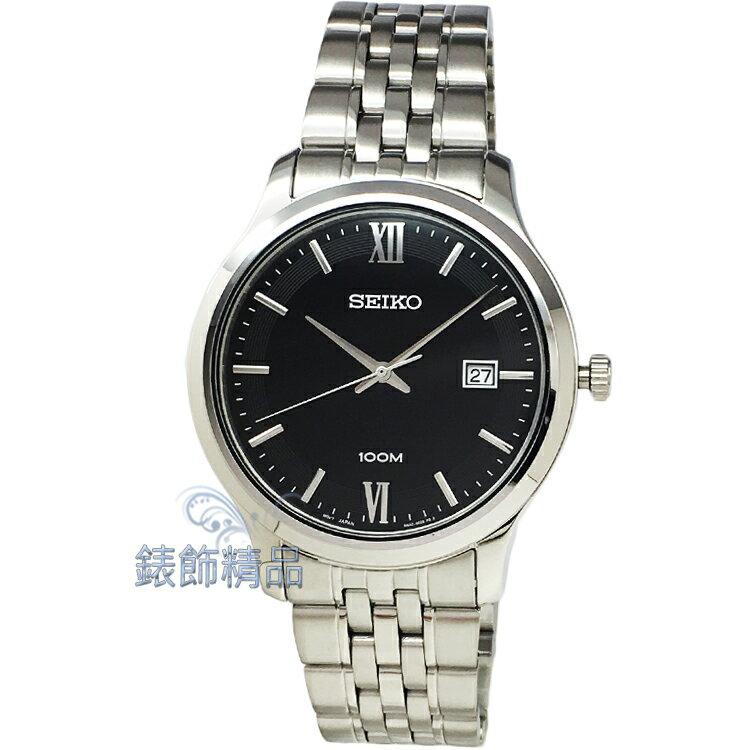 【錶飾精品】SEIKO手錶 精工表 防水 黑面日期男錶 SUR221P1 全新原廠正品 情人生日禮物