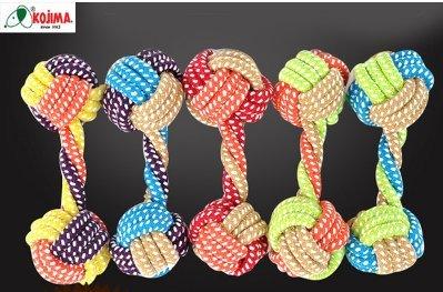 繩結寵物玩具球 狗狗編織 幼犬磨牙 耐咬棉球 玩具顏色(隨機出貨)