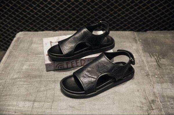 FINDSENSE服飾:FINDSENSEMD日系時尚潮男高品質頭層牛皮魔術貼露趾低跟羅馬涼鞋皮鞋