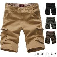 《Free Shop》Free Shop【QTJ1324】美式休閒風格側邊立體口袋水洗布料抽繩造型休閒工作短褲‧四色-Free Shop-男裝特惠商品