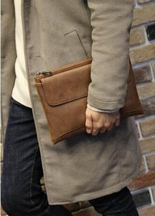 FINDSENSEZ1韓國時尚潮男複古軟皮大容易商務手提包手拿包皮夾包公事包2色