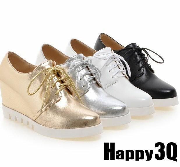 綁帶厚底內增高坡跟外出鞋小白鞋-黑/白/金/銀34-43【AAA0043】