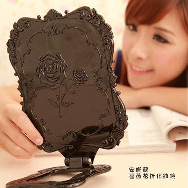 安娜蘇風格鏡薔薇花折疊台式化妝鏡6023【櫻桃飾品】【22350】