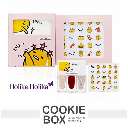 韓國Holika蛋黃哥Lazy&Joy指甲貼組合4g指甲油紙彩貼紙3色聯名款*餅乾盒子*