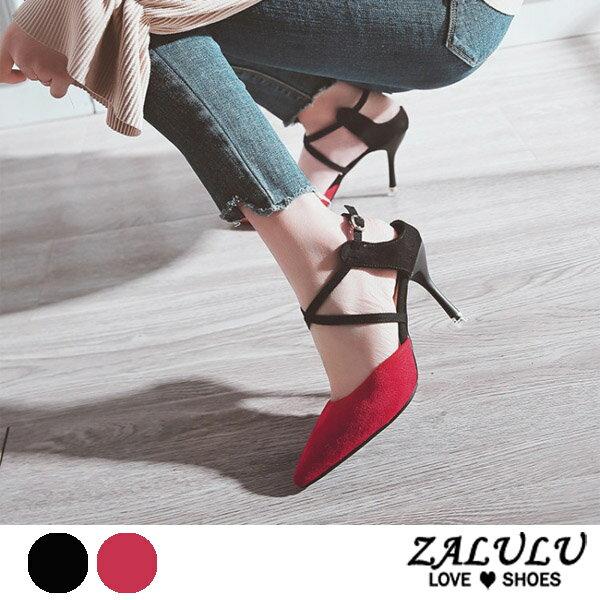 ZALULU愛鞋館7DE165摩登女郎雙色配細高跟尖頭包鞋-黑紅-35-39
