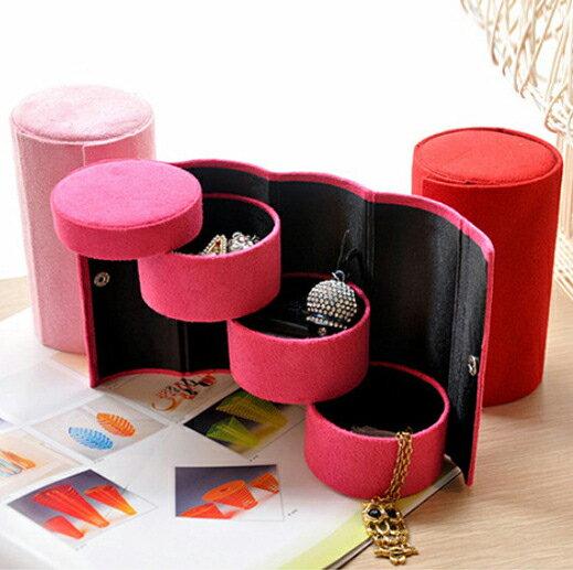 絨布圓筒三層收納首飾盒   復古珠寶盒   便攜飾品包裝盒
