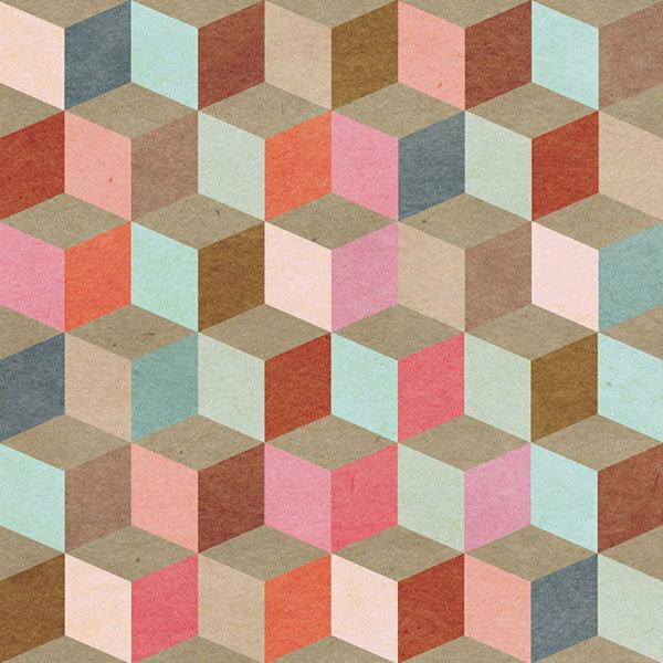Mind the Gap /  Coloured Geometry WP20004 壁紙「訂貨單位156cm x 3m/套(1套3張壁板)」復古 幾何風 立體正方形