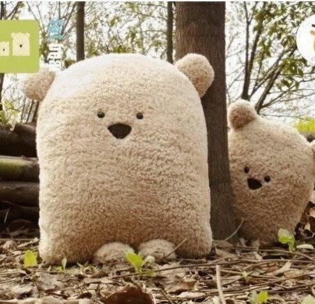 **露娜寢具**可愛大方熊情侶-豆豆熊 【小號抱枕款】 方臉熊 舒棉絨靠墊 坐墊 午休枕 暖手枕 可參考