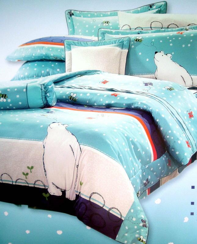 **露娜寢具**北極熊-藍色/米色-100%精梳綿床包組 -雙人床罩/單人床罩/加大/特大/床包《台中》台灣製-可訂做--滿額免運費