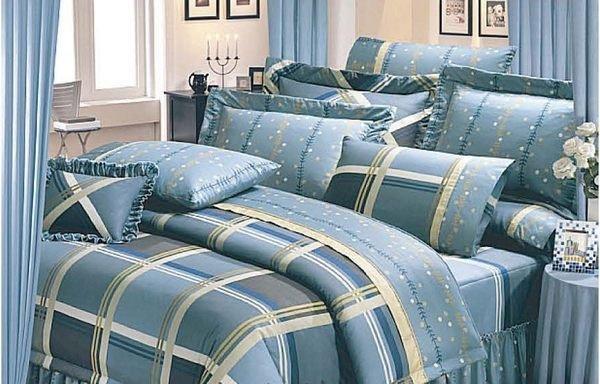 ◎MIT寢具◎台灣製‧深海藍大方格 ‧100%純棉精梳棉 單人床包/雙人床包/夏罩/床罩/厚包( 任何尺寸皆可訂做)台中