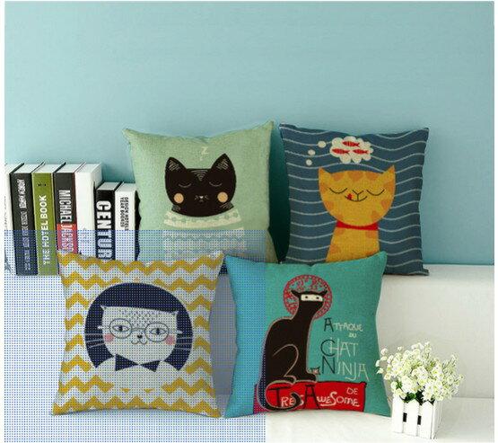 可愛貓咪 小動物小貓 可愛卡通簡約文藝 棉麻沙發靠墊抱枕靠枕