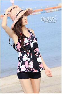 夏日特賣《馬汀精選泳衣》復古花~ 韓國 修身顯瘦 無鋼圈 兩件式 女泳衣 有XXL 加大碼