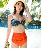 比基尼/泳裝/泳衣到《馬汀精選泳衣》韓國波點高腰性感比基尼 鋼托聚隆bikini 游泳衣 比基尼泳衣泳裝加大碼泡湯泳衣