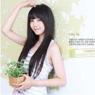 頂級高溫絲~可燙!!韓國氣質麻豆~可愛超萌長直髮 全頂式假髮 送髮網 8814
