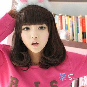 ~~ 前三名 !!~~ 高溫絲~可燙!! 韓國女孩可愛公主捲髮中長髮 ~麻豆 ~可愛齊瀏海