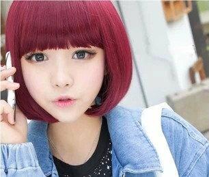 **送髮網**頂級高溫絲~可燙!!韓國俏麗酒紅麻豆鮑伯頭~可愛BOBO超萌短髮 全頂式假髮 8807