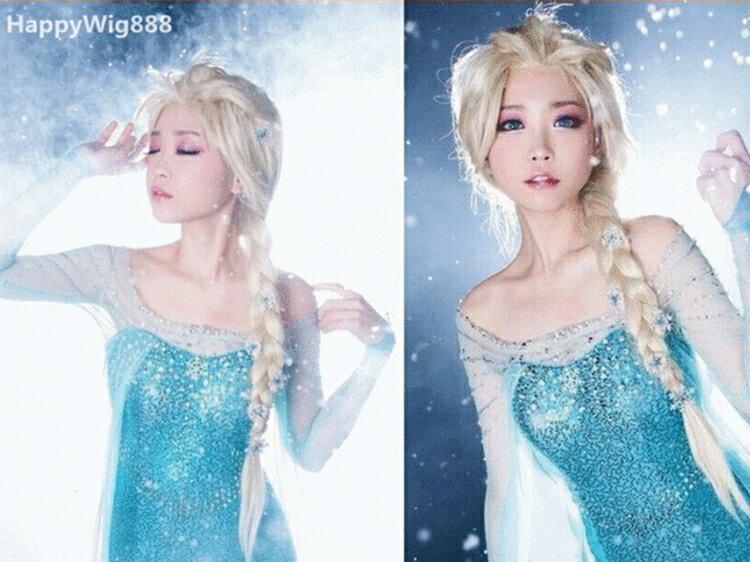 《原宿系列26》*Frozen冰雪奇緣 艾莎 Elsa女王 COSPLAY假髮 冰雪大冒險 淡金色 造型款麻花辮 送髮網