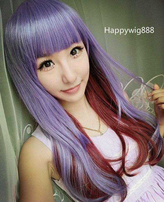 《原宿系列30》薰衣草紅茶 雙色紫咖紅漸變長捲髮 全頂式假髮 動漫女僕 cos假髮 角色扮演