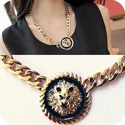 韓版飾品 金色重金屬黑色獅子頭像粗項鏈 項鍊