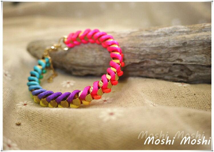 夏日限定 Mosh Moshi※潮流 彩紅螢光色金屬鏈條手環 炫彩 橘色 綠色 手鍊 腳鏈