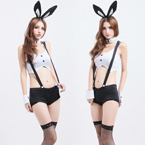 性感短褲連體兔女郎 夜場夜店酒吧工作服制服誘惑套裝 貓女兔女裝(含長筒網襪)