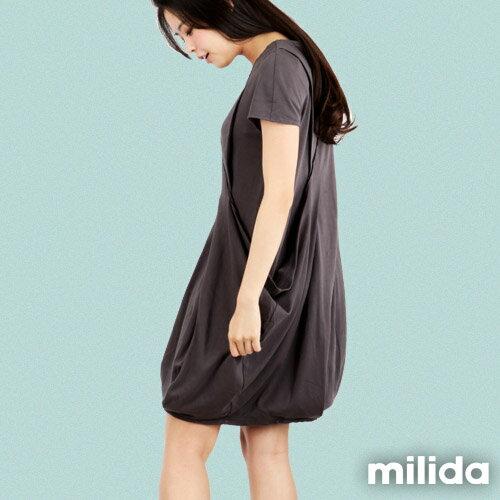 【Milida,全店七折免運】V領俏皮花苞剪裁洋裝 6