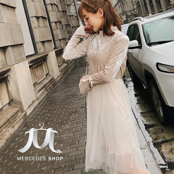《全店75折》春裝金絲絨網紗連身裙長袖洋裝(S-XL)-梅西蒂絲(現貨+預購)