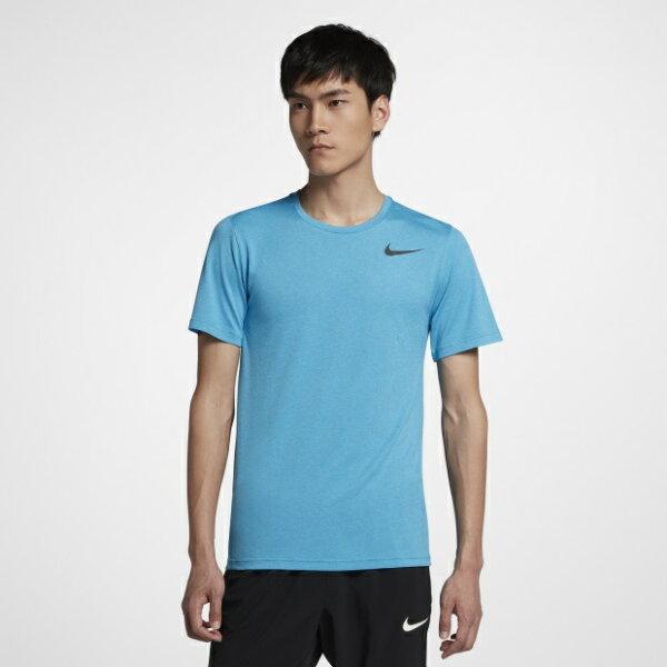 NIKEBREATHE男裝短袖慢跑訓練透氣排汗水藍黑【運動世界】832837-482